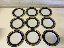 Rosenthal German Porcelain Eminence Cobalt Blue & Gold Set 9 Bread Salad Plates