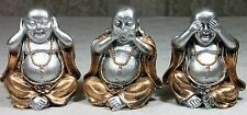 3 Wise Happy Buddha Figurines HEAR SPEAK SEE NO EVIL Gold & Silver  **LAST SET**
