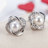 Fashion 1 Pair Women Lady Elegant Pearl Crystal Rhinestone Ear Stud Earrings hOT