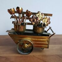 1980s Brass and copper tone flower cart decorative metal sculpture or figurine