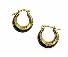 925 GOLD PLATED Round Creole Hoop Latch Earrings, 16mm, 0.72g - H27