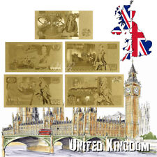 WR 1970s Old Edition UK QE2 Note 5Pcs £1-50 Pound  Gold Foil Banknote Collection