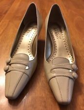 Franco Sarto Women's Beige Leather Upper Buckled 2 Inch Pumps Size 6 M