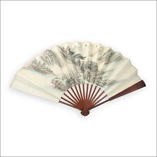 Wangxing JI CINESE CARTA DI RISO BIANCO VENTILATORE pieghevole con poesia e pittura cinese