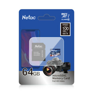 Netac Ultra 64GB Class 10 Micro SD Card With Adapter Speed 100Mb/s Smartphones