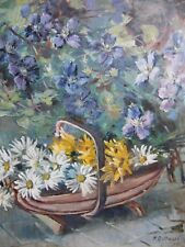 Flowers Near the Garden Wall, Vintage Oil by N. D Upham