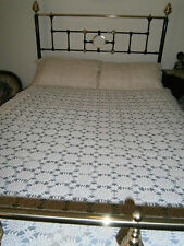 Vintage  cotton crochet shabby sheek  double bed quilt bedspread & 2 pillowcases