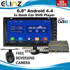 "6.8"" Android 4.4 In Dash Car DVD Player GPS DVB-T TV HD Stereo 2 DIN 3G WIFI USB"