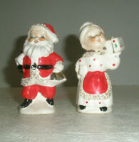Vintage Santa and Mrs. Claus Salt and Pepper Shakers Bells Gift Japan
