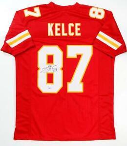 Travis Kelce Autographed Red Pro Style Jersey- Beckett W *Black *8