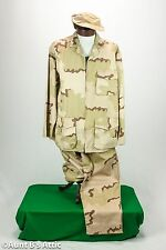 Army Desert Camouflage Costume 3 Piece Tan & Brown Pants Coat & Hat Lg