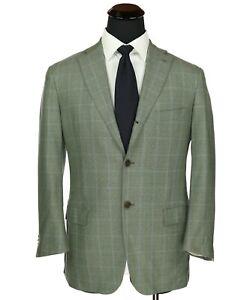 Isaia Napoli Sciammeria 140's Wool Sport Coat Green w/Blue Windowpane Checks 42R