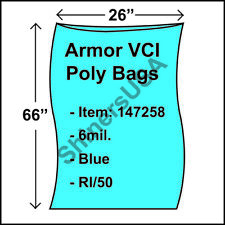 """Armor Vci Layflat Rust Prevention Poly Bags 6-Mil 26""""x66"""" Blue 50/rl 147258"""