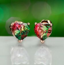 7MM Heart Dazzling Red Green Bi-Colored Tourmaline Topaz Rose Gold Stud Earrings