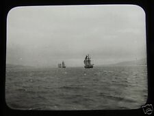 Glass Magic Lantern Slide DISTANT RIGGED SHIPS C1910