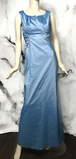 Adrianna Papell Pleated Neckline Light Blue Ruched Side Gown Dress Satin Size 10