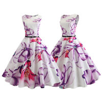 Women 50s Rockabilly Pinup Swing Dress Retro Summer Vintage Floral Printed Prom