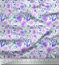 Soimoi Fabric Leaves & Grandiflora Roses Floral Print Sewing Fabric BTY-FL-143H
