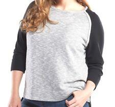 FRESH PRODUCE 3X Black & Heathered Gray Cozy MILA Pullover Top $79 NWT New 3X