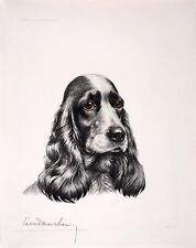 Leon DANCHIN ORIGINAL s/n Etching Black and white Cocker Spaniel head #23
