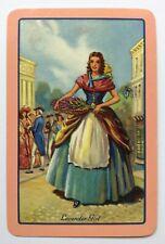 Vintage Swap/Playing Card - NAMED LAVENDER GIRL - PINK BORDER