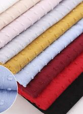 1yard*143cm Pure Cotton Fabric DIY Soft Summer Dress Material Polka Dot Jacquard