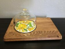 Vintage Goodwood Cheese Serving Platter Glass Dome Pristine 70s Crackers Tray 76