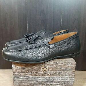 Aquatalia Black Men's Richard Pebbled Calf Loafer Size 11.5