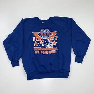 Vintage 80s Denver Broncos Crewneck Sweatshirt Size M/L Blue NFL Football