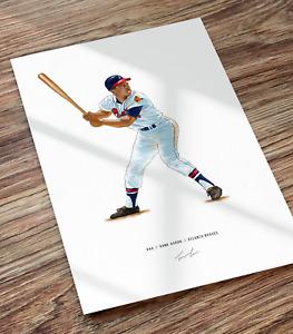 Hank Aaron Atlanta Braves Baseball Illustrated Print Poster Art Henry