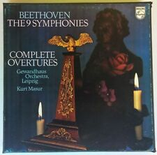 BEETHOVEN THE 9 SYMPHONIES COMPLETE OVERTURES MASUR 9LP BOX PHILIPS