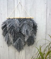 Grey White Multi Macrame Feather Wall Hanging Boho Wicca Pagan House Home Gift
