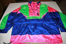 Vtg 80s Neon NEVICA Survival Shell Whistle Hood Coat Ski Snowboard Jacket Medium