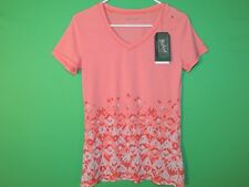 Woolrich Womens Size S Small Peach Pinchot Burn-Out V Neck T Shirt NEW