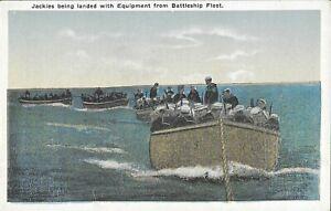 Vintage Naval Postcard, Jackies Being Landed With Equipment...
