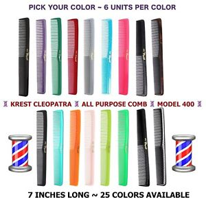 Krest Hair Combs Cleopatra All Purpose Hair Comb Hair Cutting Combs Barber 6 Pc.