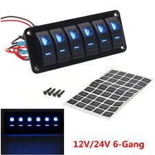 12V/24V 6 Gang Dual LED Light Car Marine RV Rocker Switch Panel Circuit Breaker