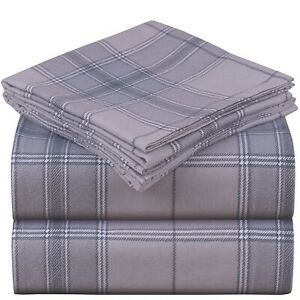 Mellanni Heavy Flannel Sheet Set 180GSM, Deep Pocket Organic 100% Cotton Sheets