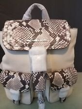 MICHAEL KORS Backpack Leather Susie Bag Natural & Snake Print   BRAND NEW$378