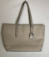 GUESS Womens Pale Pink Blush Tote Bag Embossed Logo Faux Leather