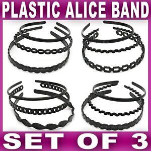 3x BLACK ALICE BAND headband head hair bands aliceband Womens Girls plastic New