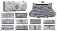 New Women Silver Clutch Bag Crystal Party Wedding Purse Ladies Diamante Handbag