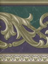 PURPLE, GREEN , AND TAUPE LEAF SCROLL  WALLPAPER BORDER