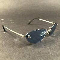 CHANEL Sunglasses FRAMES ONLY Silver Rimless Thin CC Logos 4003 c.103/72 140