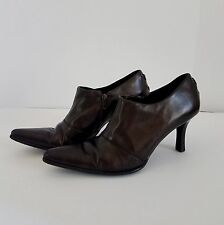 FRANCO SARTO 9.5 M Ankle Boots Pointed Toe Stiletto Heels Brown Shoes Brazil Zip