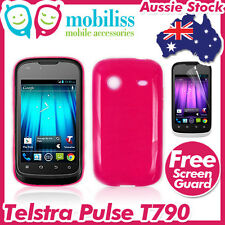 2 Hot Pink TPU Gel Jelly Case Cover Skin Screen Protector Telstra Pulse ZTE T790
