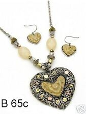 Antique Silver Beaded Epoxy Heart with Accent Crystals