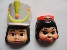2 Masques anciens pour poupée type bella majorette hôtesse de l'air déguisement