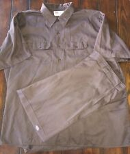 DICKIES Work Shirt & Pants Lot Dark Brown 4XL 42X32 Button Up Front MECHANIC