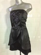 BNWT SIZE 14 NEW QED LONDON BLACK SATIN STRAPLESS MINI DRESS GOTH PARTY
